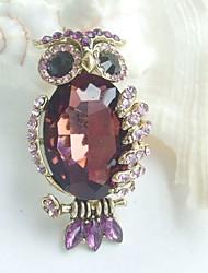 Women Accessories Gold-tone Purple Rhinestone Crystal Owl Brooch Art Deco Scarf Brooch Pin Women Jewelry