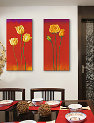 e-FOYER toile tendue fleur d'art peinture décorative ensemble de 2