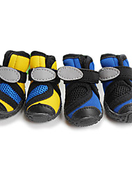 Cat Dog Shoes & Boots Waterproof Spring/Fall Solid Yellow Blue Mixed Material