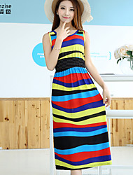 Women's Casual/Daily Shift Dress,Striped Round Neck Midi Sleeveless Multi-color Polyester / Spandex Summer