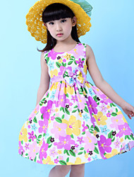 Girls  Fashion Floral 100% Cotton Party Birthday Baby Kids Clothing Dresses