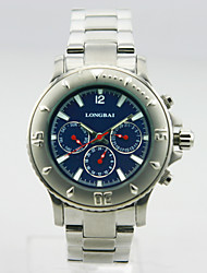 Men's Calendar Analog Stainless Steel Case Round Dial Stainless Steel Band Japan Quartz Business Watch(Assorted Colors)