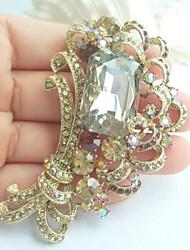 Women Accessories Gold-tone Topaz Rhinestone Crystal Brooch Bouquet Art Deco Flower Brooch Women Jewelry
