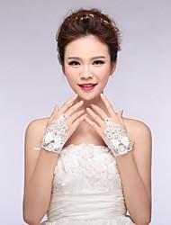Bridal Gloves Lace/Elastic Satin Wrist Length Wedding/Party Fashion Bowknot Glove White