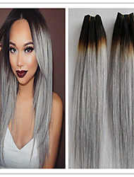 3Pcs/Lot Brazilian Ombre Hair Extensions Straight 1b/Grey Two Tone Human Hair Weave Brazilian Hair Ombre Grey hair