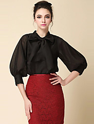 Women's Casual Stretchy ¾ Sleeve Regular Blouse (Chiffon/Organza)