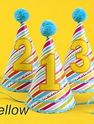 Accessori per feste Cappelli Battesimo/Compleanno Cartancino Rosa/Blu/Giallo #