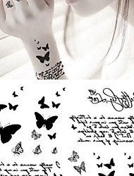 TT Fashion Black Butterfly Tattoo Stickers Temporary Tattoos(1 pc)
