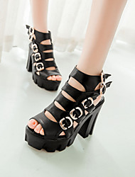 Women's Shoes Chunky Heel Heels/Platform/Gladiator/Ankle Strap Sandals Dress Black/White