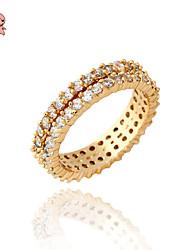 KuNiu Women's High Quality Classic 18K Gold Plated White Zirconia Wedding Finger Rings J0040