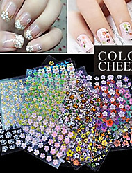 Venda quente! 50 Art Nail Mixs design floral 3D Stickers