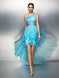 Homecoming Dress - Pool Sheath/Column One Shoulder Asymmetrical Chiffon