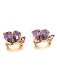 Sjeweler Female Fashion Gold-Plated Purple Zircon Round Earrings