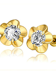 Earring Stud Earrings Jewelry Women Cubic Zirconia / Gold Plated 2pcs Gold
