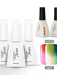 Azure 5 Pcs/Lot Nail Gel Color Changing UV Gel Nail Polish for Nail Beauty (#02+#07+#11+BASE+TOP)