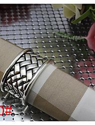 6pcs Zinc Alloy Ribbon Egg-shaped Antique Silver Napkin Ring