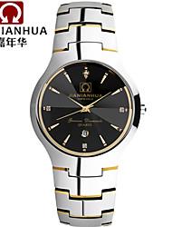 JIANIANHUA Couple Watches a Barrel Type Business Series Calendar Quartz Watch Pure Tungsten Steel Black Watch