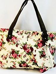 donne Canvas Handbag fiori rossi frizione borsa