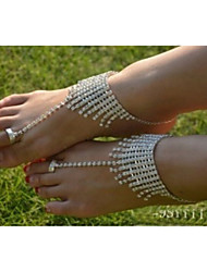 Silver Braclet Rhinestone Barefoot Sandals Toe Ring Slave Anklet Body Jewelry luxury Wedding Anklet Chain