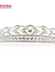 Neoglory Jewelry Leaves Tiara Crown Hair Accessories with Clear Austrian Rhinestone for Lady's Wedding Pageant/Daily