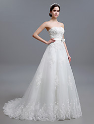 A-line Sweep/Brush Train Wedding Dress -Strapless Tulle
