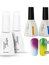 Azure 4 Pcs/Lot Soak-off Color Changing UV Gel Nail Polish Top and Base Coat for Nail Beauty(#21+#31+BASE +TOP)