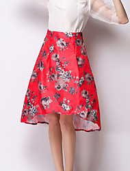 Women's Red Skirts , Casual/Print Knee-length