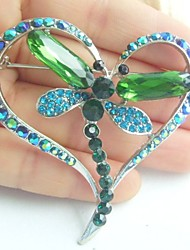 Women Accessories Silver-tone Turquoise Green Rhinestone Crystal Dragonfly Brooch Art Deco Women Jewelry