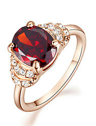 T&C Women's Pretty 18K Rose Gold Plated 2ct Ruby Cubic Zirconia Classic Romantic Party Rings