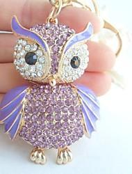 Charming Bird Owl Key Chain With Purple & Clear Rhinestone Crystals