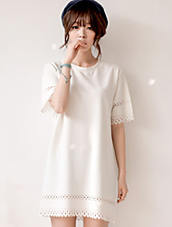 Women's Casual/Party/Work Round Short Sleeve Dresses (Polyester)