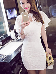 Women's Sexy Lace Micro-elastic Sleeveless Mini Dress (Dress + shawl)