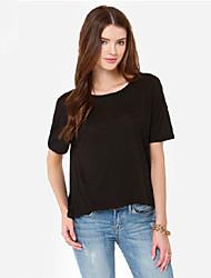 Sexy/Informeel Rond - VROUWEN - T-shirts ( Katoen/Polyester )met Korte Mouw