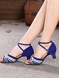 Chaussures de danse (Argent/Or) - Non personnalisable - Talon Large - Suédé - Danse latine