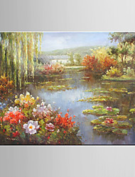 Oil Painting Pastoral Scenery Flower Decoration Hand Painted Canvas with Stretched Framed L/XL
