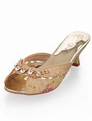 Zapatos de mujer Semicuero Tacón Cono Punta Abierta Sandalias Vestido Azul/Oro