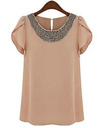 Kaman Women's Casual/Work Short Sleeve Tops & Blouses (Chiffon)