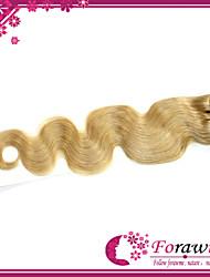 """3pcs / lot 18 extensiones de cabello humano brasileño """"-24"""" # 24 onda natural del cuerpo rubia armadura del pelo humano 100g / bundle"""
