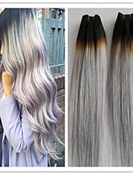 3pcs / lot plata grises paquetes armadura del pelo humano brasileño del pelo recto pelo virginal para mujeres