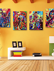 E-HOME® Stretched Canvas Art Abstract Decorative Painting Set of 4