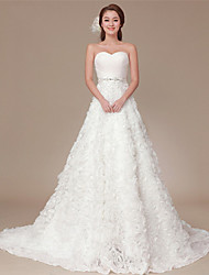A-line Sweep/Brush Train Wedding Dress -One Shoulder Organza