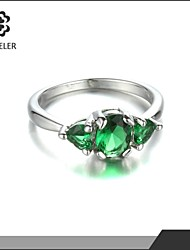 Ring Imitation Emerald Fashion Wedding / Party Jewelry Cubic Zirconia / Platinum Plated Women Statement Rings 1pc,One Size Gold