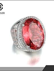 Sjeweler Platinum Plating 9 x11mm Oval Pink Cubic Zircon Ring