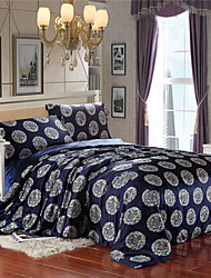 Queen Beds Navy Blue Chinese Silk Quilts Soft Imitation Silk