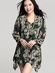 Women's Sexy Print Plus Sizes Micro Elastic Sleeve Mini Dress (Chiffon Cotton)