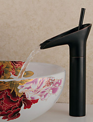 Contemporary Winebowl Style Oil-rubbed Bronze-plated Brass Cold / Hot Water Faucet - Black