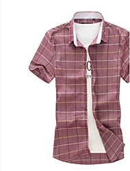 Men's Casual Checks Short Sleeve Regular Shirts