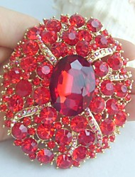 Women Accessories Gold-tone Red Rhinestone Crystal Flower Brooch Art Deco Crystal Brooch Bouquet Women Jewelry