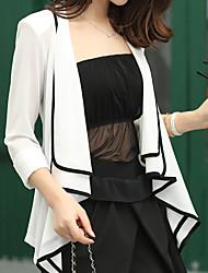 Women's Casual/Print Medium ¾ Sleeve Outwear Regular Chiffon/Polyester)