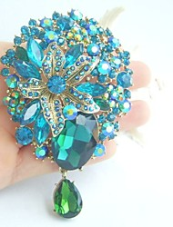 Women Accessories Gold-tone Turquoise Green Rhinestone Brooch Art Deco Dangling Flower Brooch Bouquet Women Jewelry